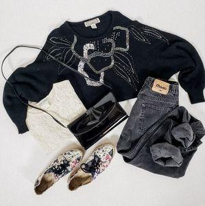 Beaded black sweater knit vintage long sleeve
